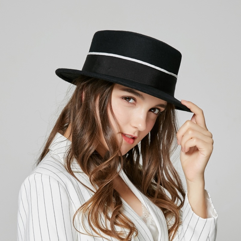 New England Female Hat Girls Fashion Cute Panama Hat Girls Winter Wide Brim Flat Fedoras Hat Wool Beret Cap B-7895