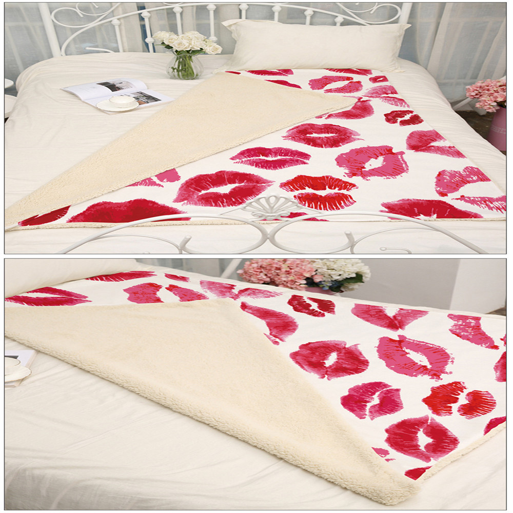 Original Red Lips Printing Coral Fleece Throw Blanket Sofa Bed Room Thin Quilt