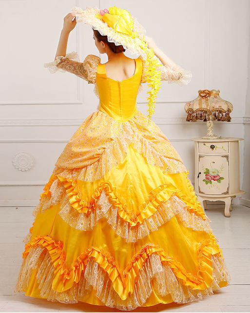 Online shop luxury lace golden yellow flowers ruffled medieval luxury lace golden yellow flowers ruffled medieval dresswith hat renaissance gown princess cosplay victorianbelle ball gown mightylinksfo