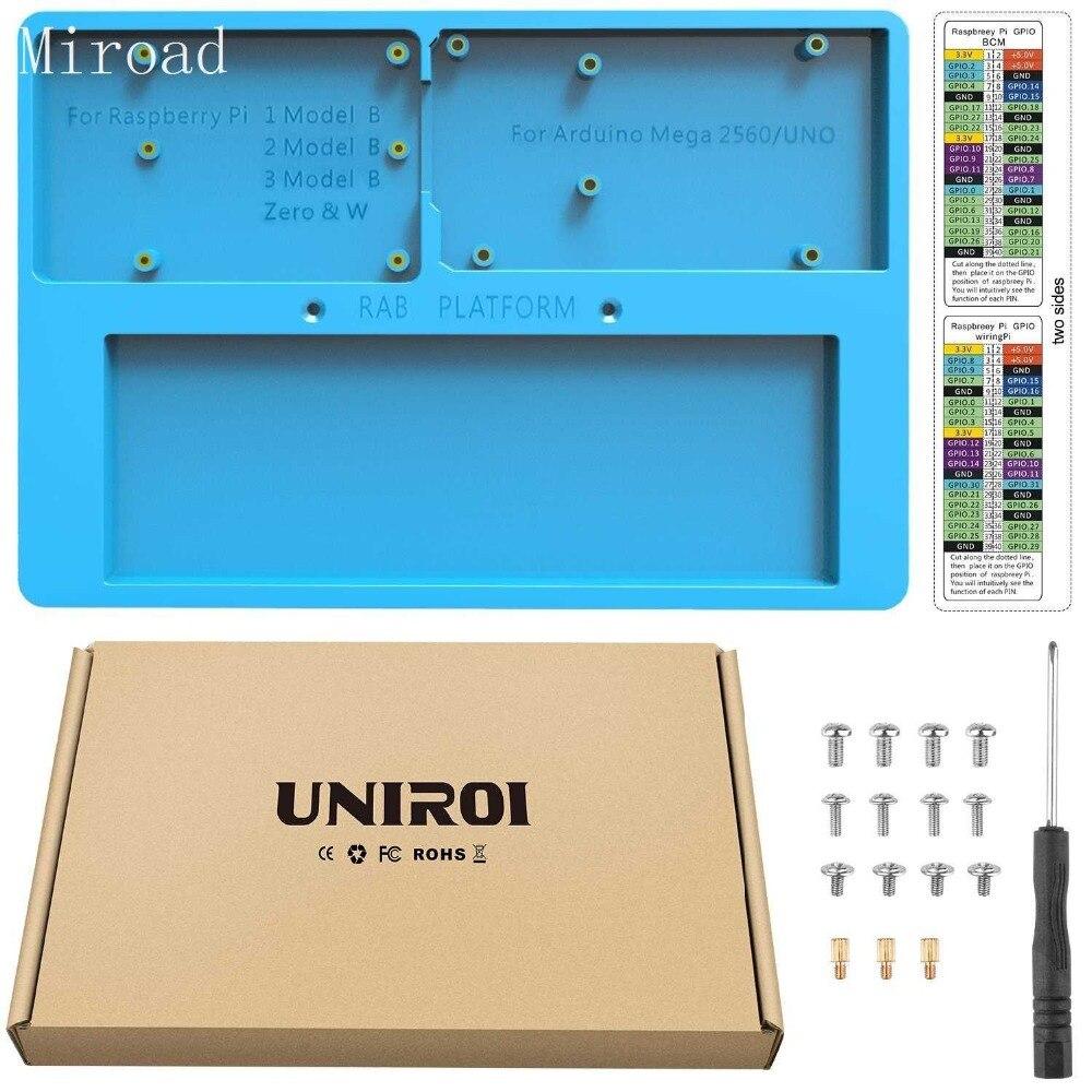 UNIROI 7 in 1 RAB Holder Breadboard,Base Plate Case for Arduino , Raspberry Pi 3 Model B, 2 Model B,1 Model B+ RPI Zero UA031 uniroi 7 in 1 rab holder breadboard base plate case for arduino raspberry pi 3 model b 2 model b 1 model b rpi zero ua031
