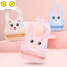Detachable Baby Silicone Waterproof Feeding Bibs Newborn Cute Cartoon Feeding Cloth Children Apron Kids Feeding Accessories baby bibs eva waterproof lunch feeding bibs newborn baby cute cartoon feeding cloth bib children apron kids feeding accessories