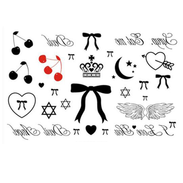 Yeeech Temporary Tattoos Sticker For Women Fake Small Wings Crown