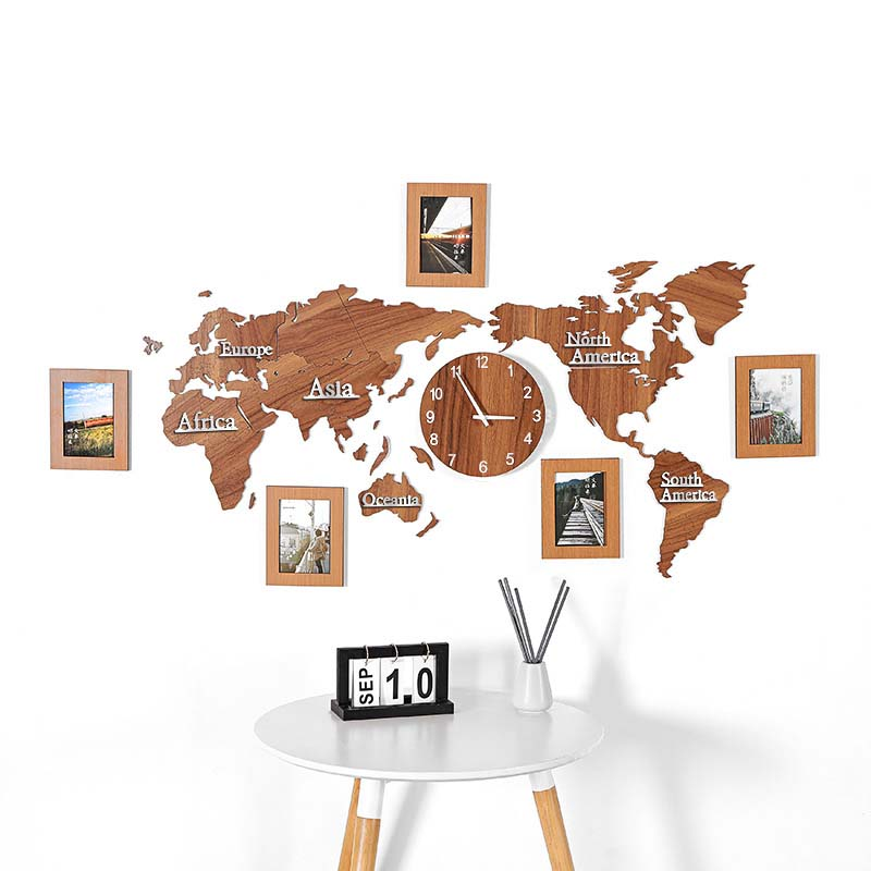 Mapa del mundo acrílico madera 3D auto adhesivo pared Reloj de pared adhesivo sala de estar pegatina para sofá decoración de oficina Fondo foto pared