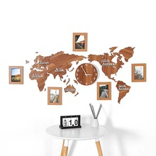 World map acrylic wood 3D self-adhesive wall sticker clock Living room sofa Office decoration background photo