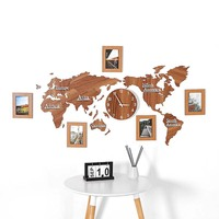 World map acrylic wood 3D self adhesive wall sticker wall clock Living room sofa sticker Office decoration background photo wall