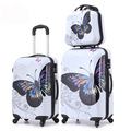 Women Vintage Butterfly Luggage Set/Large Capacity Rolling Suitcase+Cosmetic Pouch/14'' 20'' 24'' ABS+PC Business Trolley Bags