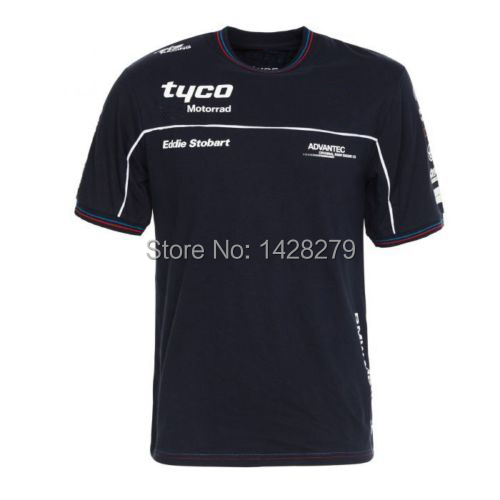 2019 Motocross Short Sleeve T-<font><b>Shirts</b></font> FOR <font><b>BMW</b></font> Tyco Motorrad Motorcycle Men Short tshirt Moto Tops Blue image