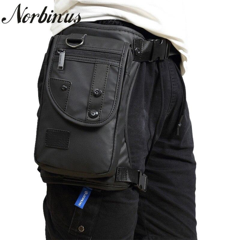 купить Norbinus Men Canvas/Nylon Waist Fanny Pack Drop Belt Bags Shoulder Messenger Crossbody Bag Motorcycle Rider Hip Thigh Leg Bag недорого