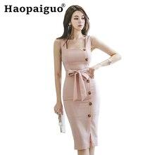 Modis 2019 Summer Wrap Dress Women Sleeveless Bandage Bodycon Pink with Sashes Split Sheath Korean Ladies Dresses