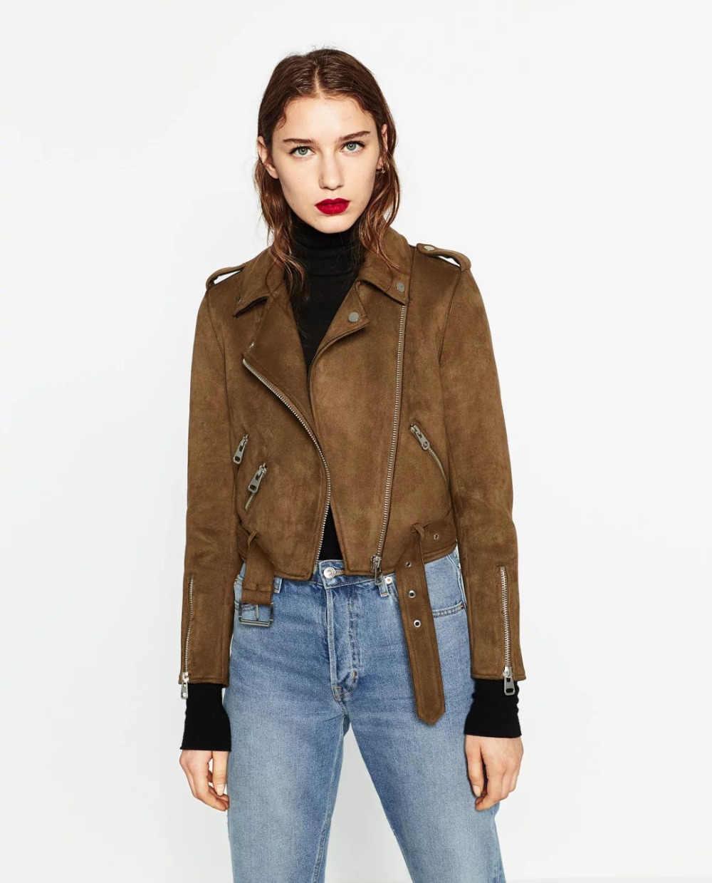 2018 Весенняя мода, имитация оленьей шкуры, короткие куртки, Осень-зима, нагрудные значки, молния, длинный рукав, пояс, коричневое, серое пальто