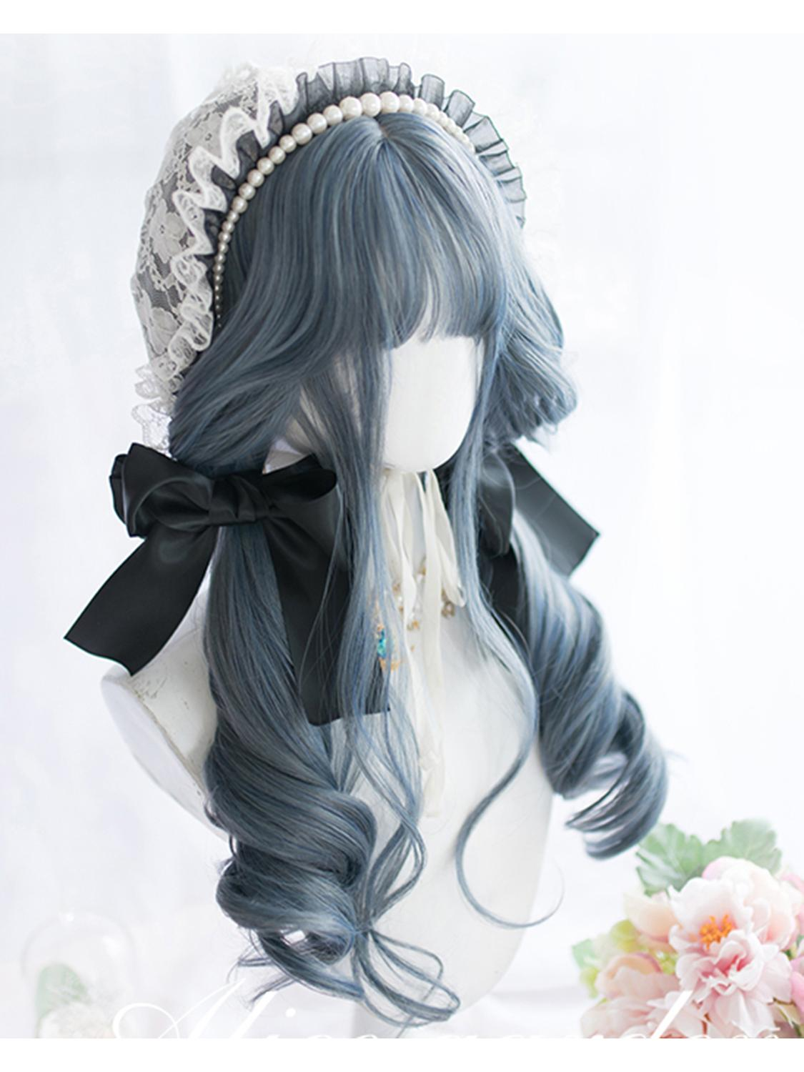 Cosplaysalon Wig Bangs Long-Curly Mixed-Blue Lolita Ombre Synthetic Heat-Resistant Cute