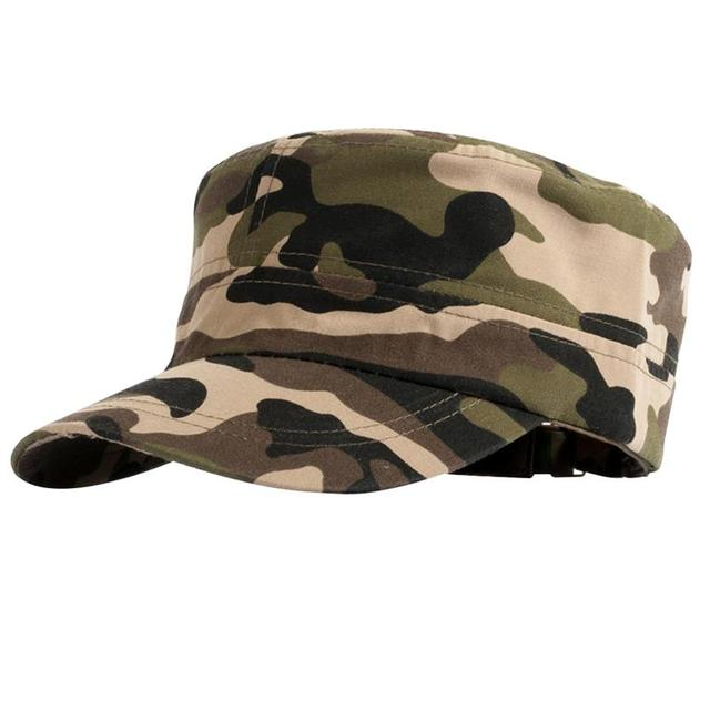 Vbiger Men Women Flat Top Peaked Cap Camouflage Army Sun Hat Trendy Military  Style Hat Casual Outdoor Sunhat c546f4e8354