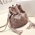 2016 New Mini Hollow Bucket Women Bag Small Tassel Women Messenger Bags promotion hot cross body bags