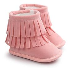 Baby Boots 2017 Fashion Baby Keep Warm Double-deck Tassels Soft Sole Snow Boots Soft Crib Shoes Toddler Boots D50
