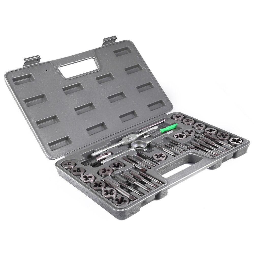 40 unids piezas de soporte de rosca métrica ajustable herramienta de llave de rosca con caja de plástico t-handle Tap Holder para la reparación de roscado