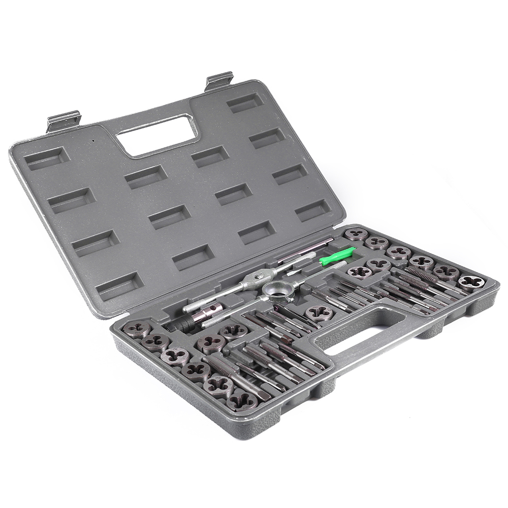 40Pcs Adjustable Metric Tap Die Holder Thread Gauge Wrench Tools With Plastic Case T-handle Tap Holder For Threading Repair 40pcs tap die set metric taps dies adjustable tap die holder thread gauge wrench threading tools