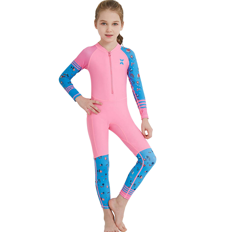 Kids Girls One Piece Swimsuit Summer Long Sleeve UV Protection Surfing Diving Swimming Suit Clothes Beach Holiday Costume