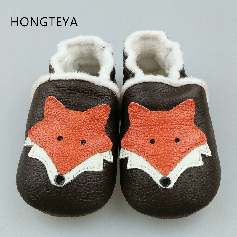 HONGTEYA 2019 New winter warm Genuine Leather Baby Moccasins Shoes fox style Baby Shoes Newborn first walker toddler Shoes