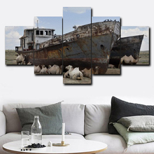Laeacco Canvas Painting Calligraphy 5 Panel Boat Sheep House Poster and Print Wall Art for Living Room Bathroom Home Decoration laeacco canvas calligraphy painting abstract 5 panel unicorn wall art animal poster and print nordic home living room decoration