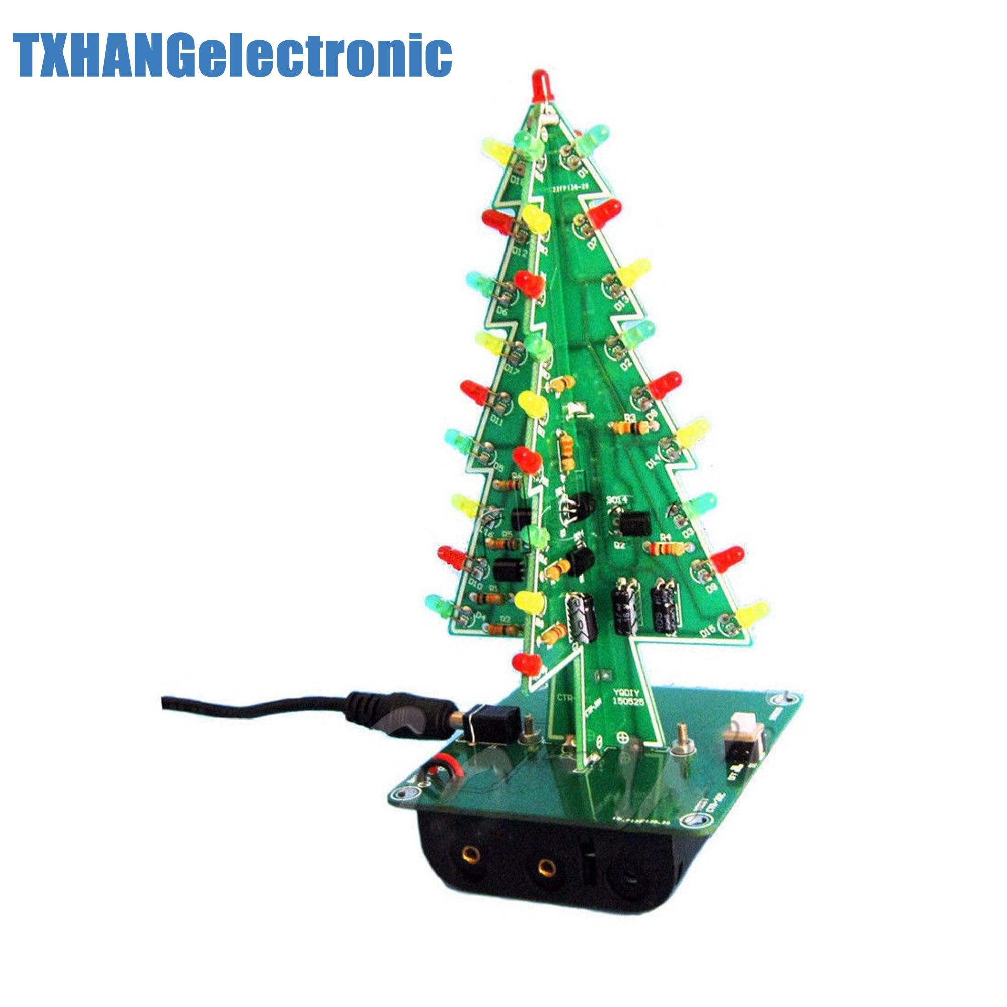 Christmas Trees LED DIY Kit Professional Red Green Flash LED Circuit ...