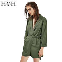 HYH HAOYIHUI Women Romper Solid Green Long Sleeve Deep V Neck Playsuit Drawstring Elegant Streetwear Sexy