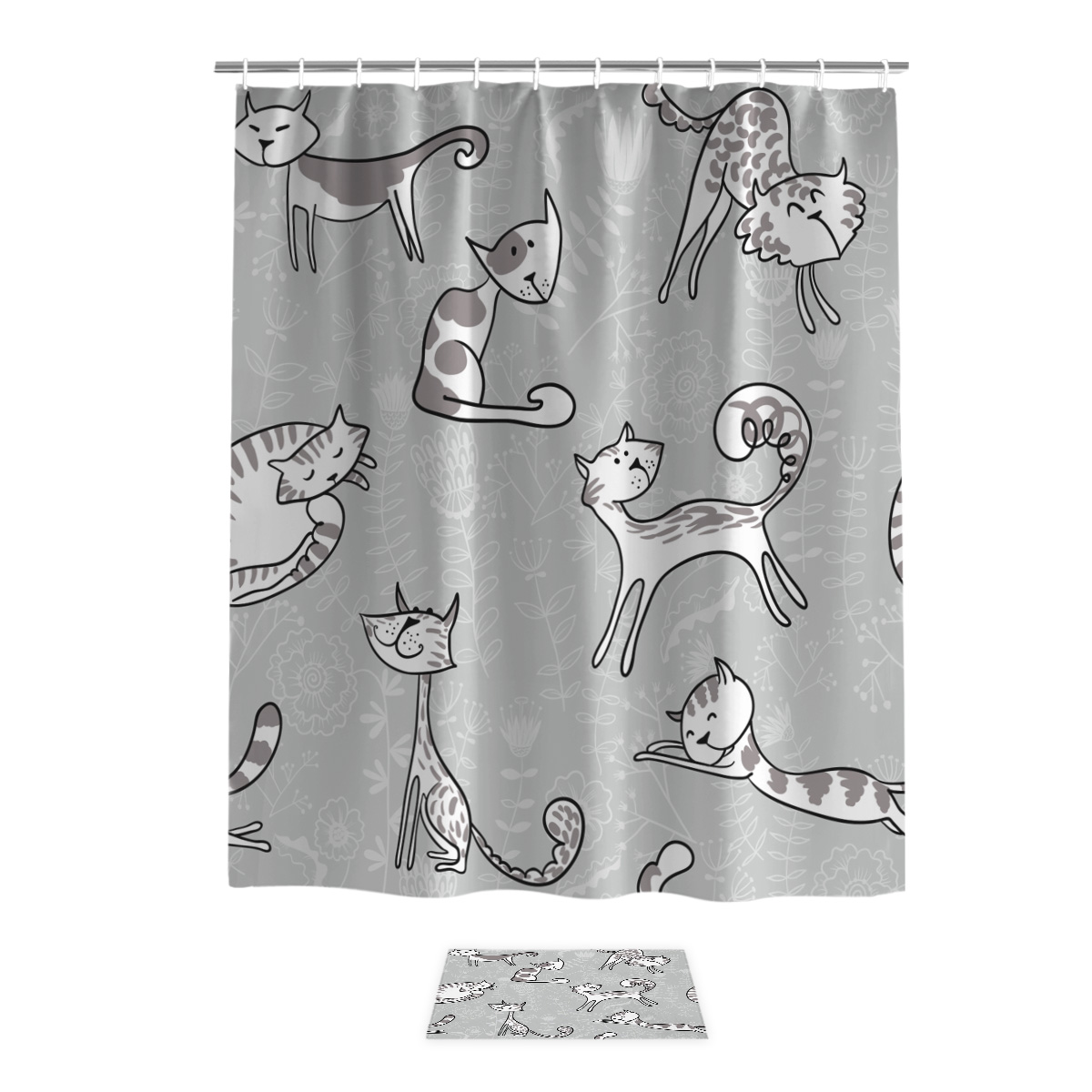 Cartoon Cat Theme Waterproof Fabric Home Decor Shower Curtain Bathroom Mat