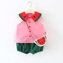2 PCS Watermelon Baby Clothing Cotton Infant Tank Top + Baby Shorts Summer Baby Girl Clothes Set with Bag Pink/Yellow цены онлайн