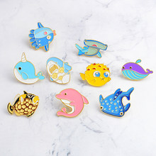 Marine life Cartoon Pins Shark Dolphin Puffer fish Whale Brooches Badges Backpack Enamel pins For kids Gifts Jewelry wholesale(China)