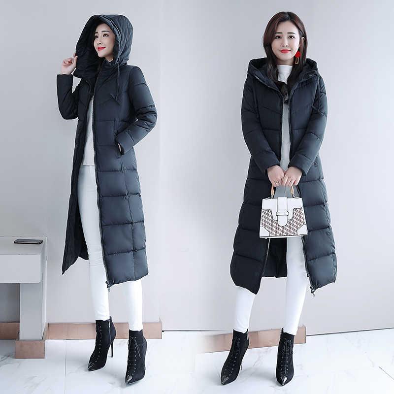 ฤดูหนาว 2019 ใหม่ thicken ยาวกว่าเข่า slim fit แฟชั่น hooded ลงเสื้อ