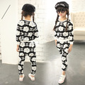 Spring and autumn new girls camellia hoodies sweater + harem pants suit children girls clothing set