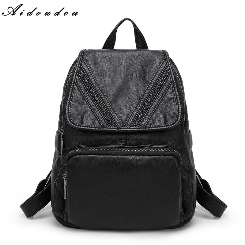 AIDOUDOU Brand Backpacks Preppy Style Sheepskin Leather School Backpack Bag For College Simple Design Men And