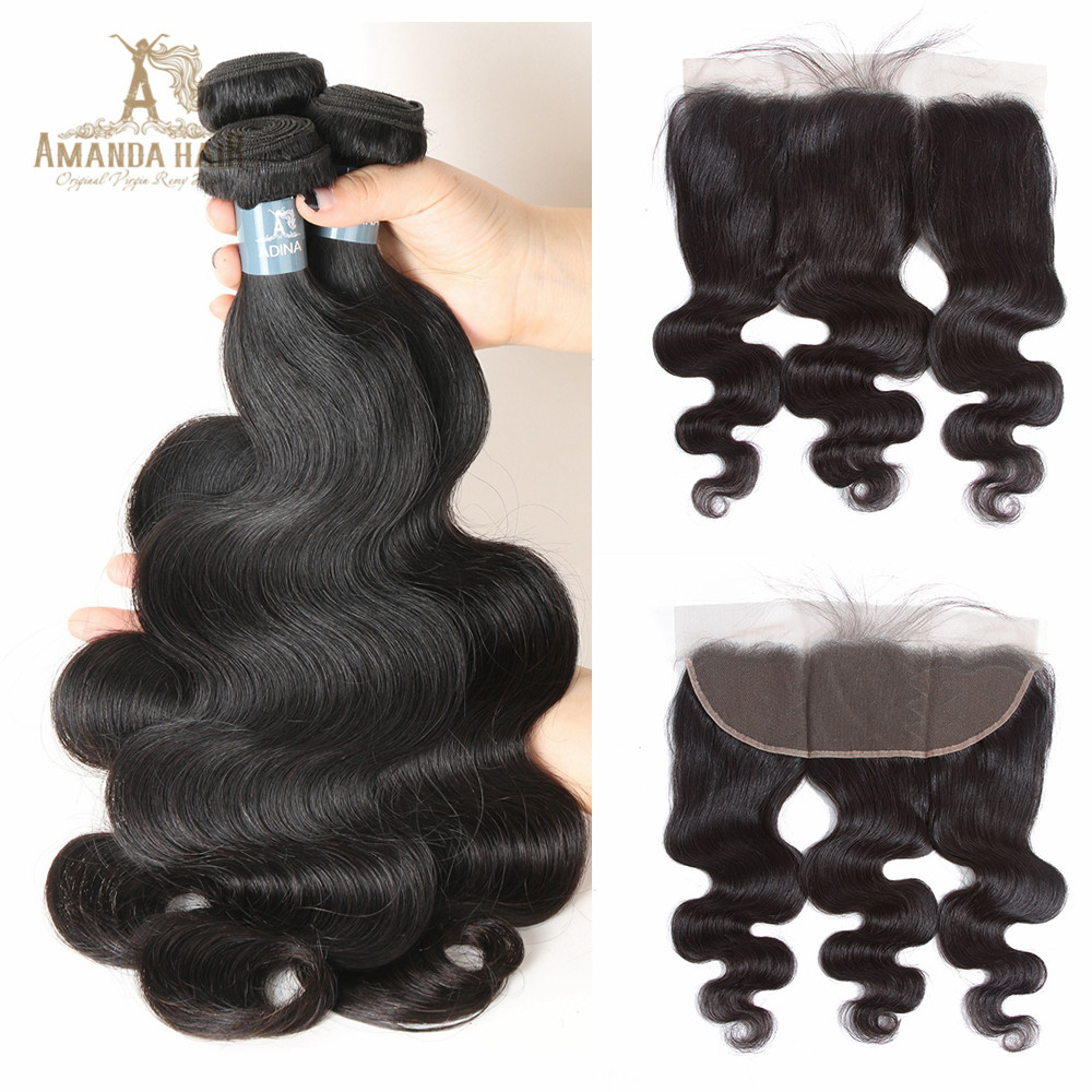 Hair Extensions & Wigs Salon Bundle Pack Code Calla 100% Human Hair Weave Bouncy Curly Peruvian Pre-colored Raw Virgin 3 Bundles With 13x4 Lace Frontal Closure For Woman