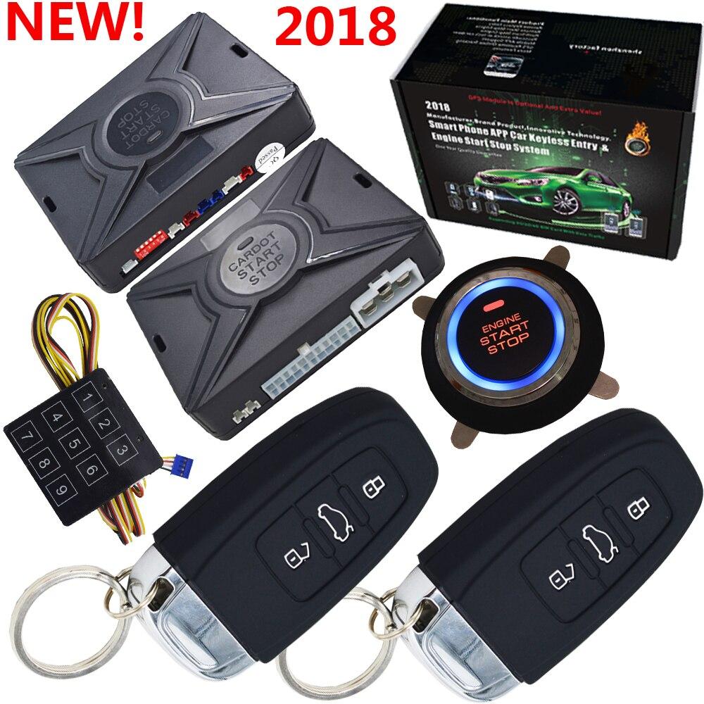 Top smart sicherheit auto alarm passive keyless entry auto zentralen lock push button start stop compatiable mit cardot gps modul
