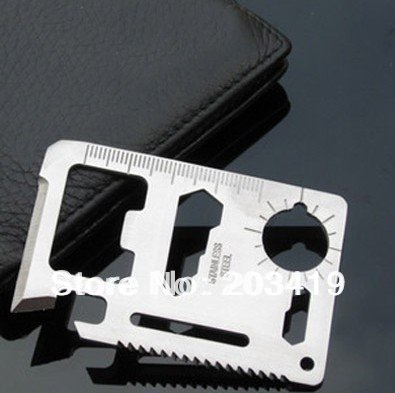 7cm 11 in 1  Emergency Outdoor Multi Tool Army marine military Hunting Survival Kit Pocket Credit Card Knife whcn