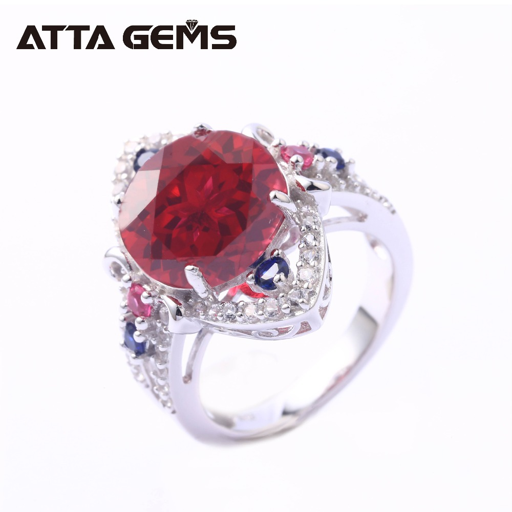 Red Ruby Sterling Silver Rings for Women 6.5 Carats Created Ruby S925 Rings Faced Cutting Birthday Gifts Party JewelrysRed Ruby Sterling Silver Rings for Women 6.5 Carats Created Ruby S925 Rings Faced Cutting Birthday Gifts Party Jewelrys