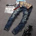 Casual Straight Skinny Pants Mens Jeans Fashion Holes Long Trousers Stylish Designed Brand Jeans Men Denim Biker Pants Cotton
