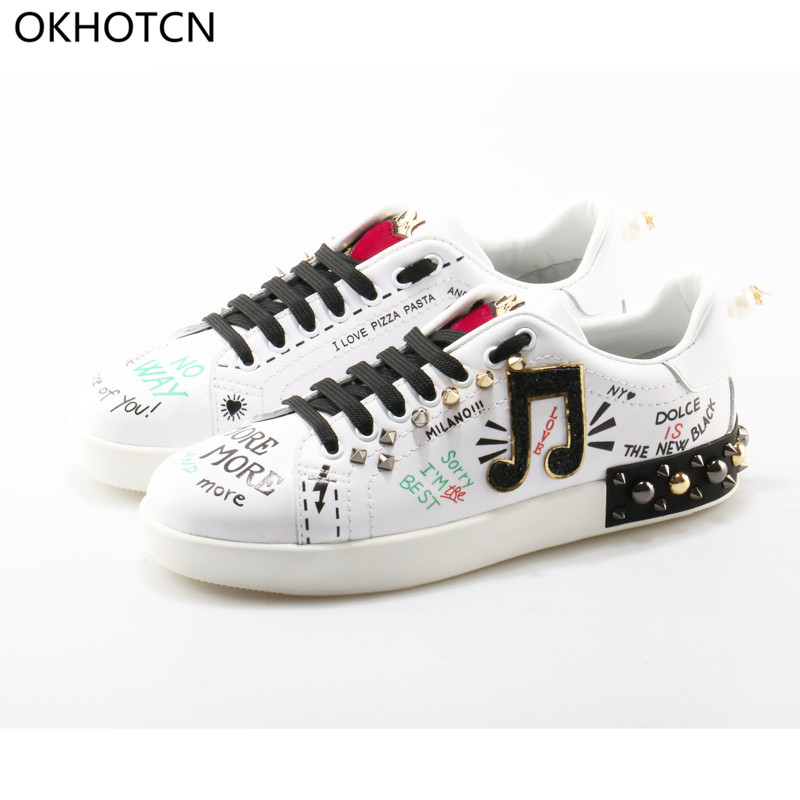OKHOTCN Fashion Rivets Heel Laced up Bling font b Women b font Flats Pearl Decor font