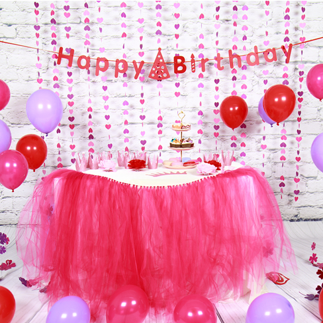 Sunbeauty Set Pink Theme Happy Birthday Decoration DIY Kids Party