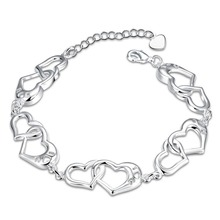 Fine white gold plated love bracelet for women heart-shaped fashion tif jewelry wedding gift for friends 2016 newest design