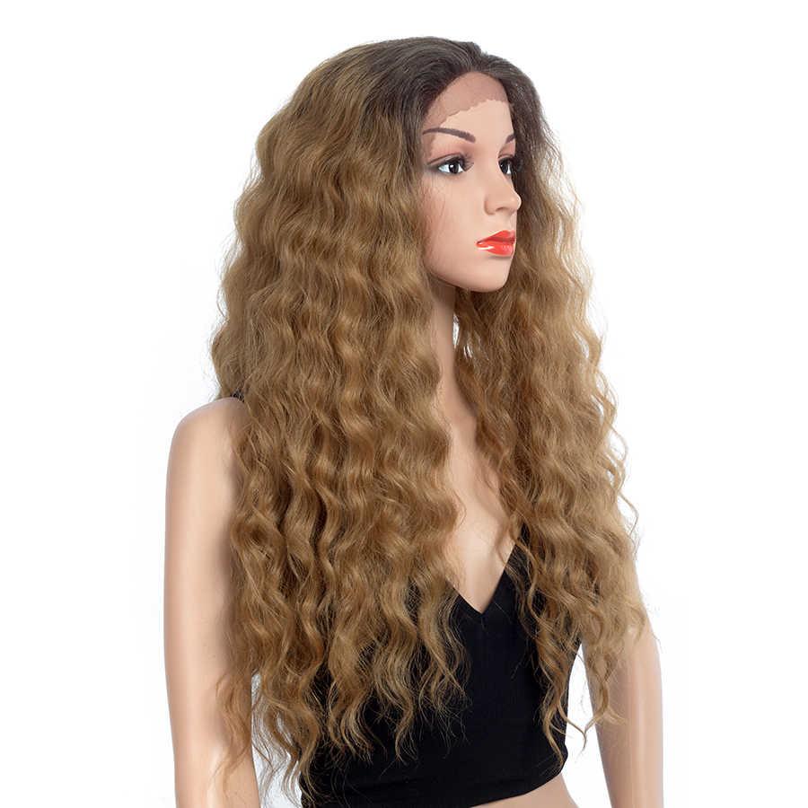 Pelucas sintéticas Aigemei parte libre peluca frontal de encaje pelucas de pelo rizado de densidad 150% para mujeres cabello hecho a mano 28 pulgadas