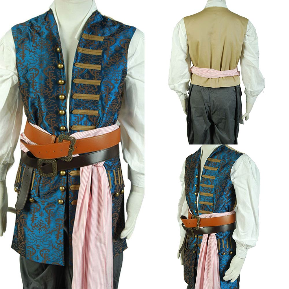Adult Men Pirates Of The Caribbean 4 Costume Jack Sparrow Vest Costume Cosplay Halloween Carnival Custom Made