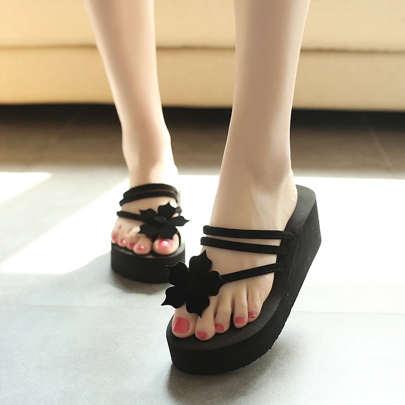 High Profile And Skid Resistance Increased Korean Version Of Students Wear High Heels Sandals, Lovely Bottom Slippers, Female Xi