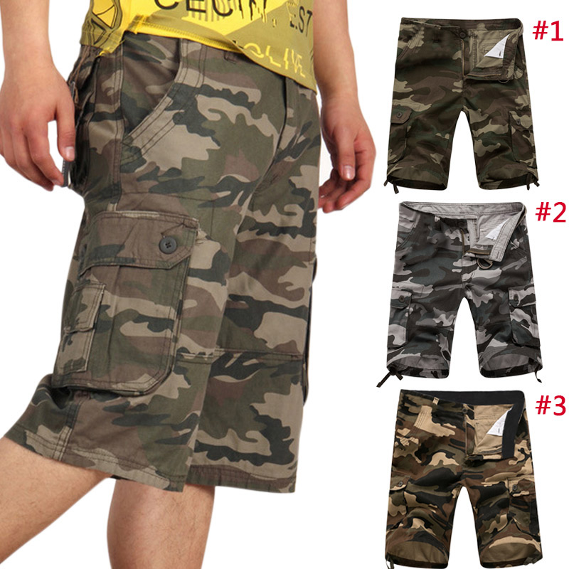 Fashion Summer Men Military Shorts Cargo Camo Casual Baggy Tactical Army Camouflage Short Pants Trousers -MX8