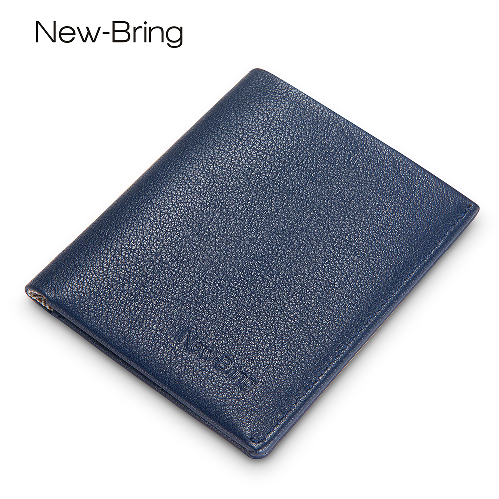 NewBring Compact Genuine Leather Wallet Men With Multifunction Mini ID Wallet  Women Money Credit Card Purse Male