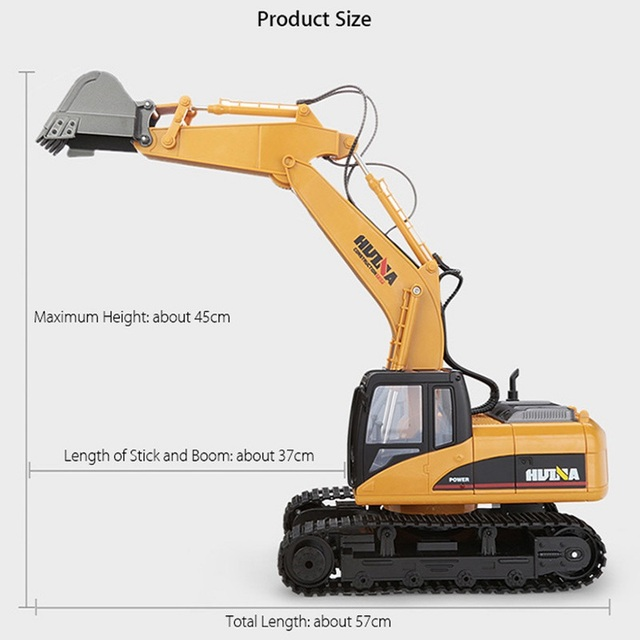 2019 Brand New Toys 15 Channel 2.4G 1/14 RC Excavator Charging RC Car With Battery RC Alloy Excavator RTR For kids 5