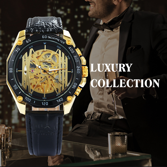 FORSINING Fashion Auto Mechanical Mens Watches Top Brand Luxury Leather Strap Irregular Golden Skeleton Watch Men relogio 2018