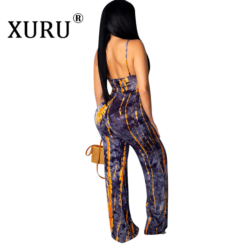 XURU summer new women 39 s printed jumpsuit fashion casual sling V neck jumpsuit trousers in Jumpsuits from Women 39 s Clothing