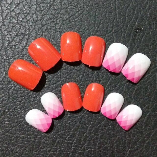 24pcs Red False Nails Tips Gradient Pink Fake Nails Diamond Nail Art
