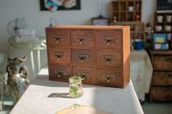 1PC 9 Drawer Storage Box Groceries Vintage Wooden Finishing Cabinet Desktop Wall Organizer Box 39x10x26cm  JL 075