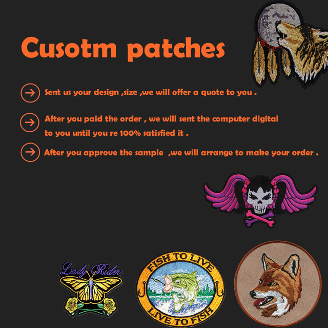 Custom Embroidery Patches Iron On Hook Backing With Your Own Logo
